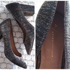 Anthropologie Metallica Tweed Block Heel Pump Shoe